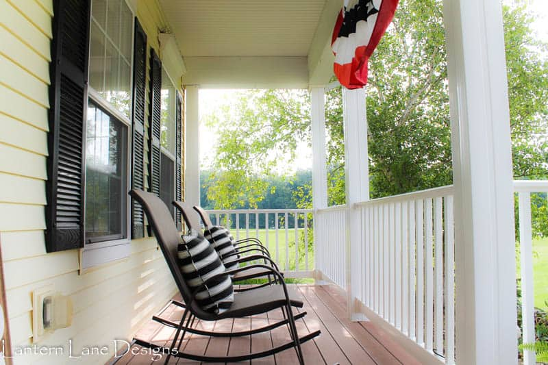 Front porch makeover rockers and pillows