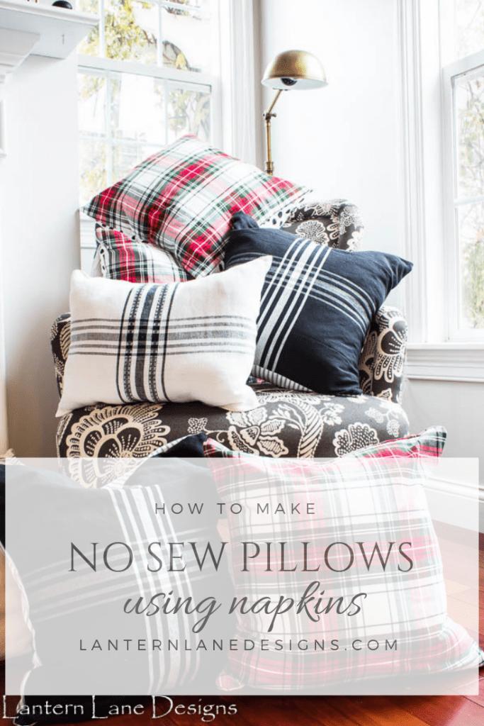 DIY No Sew Pillow Using Napkins #DIYHomeDecor #DIYprojects #DIY