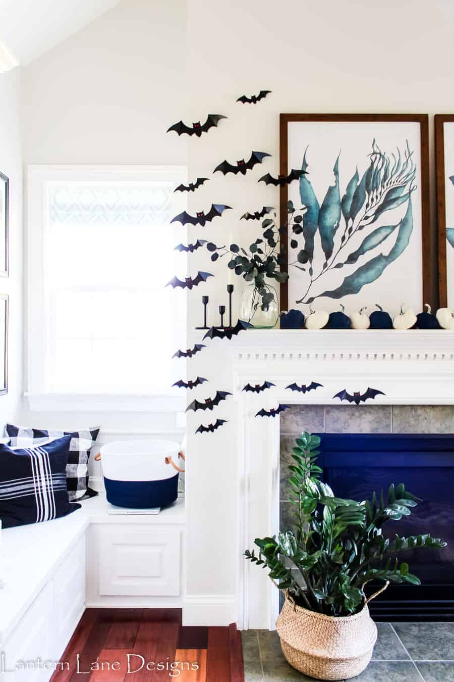 fall mantel decorating ideas using non traditional fall colors
