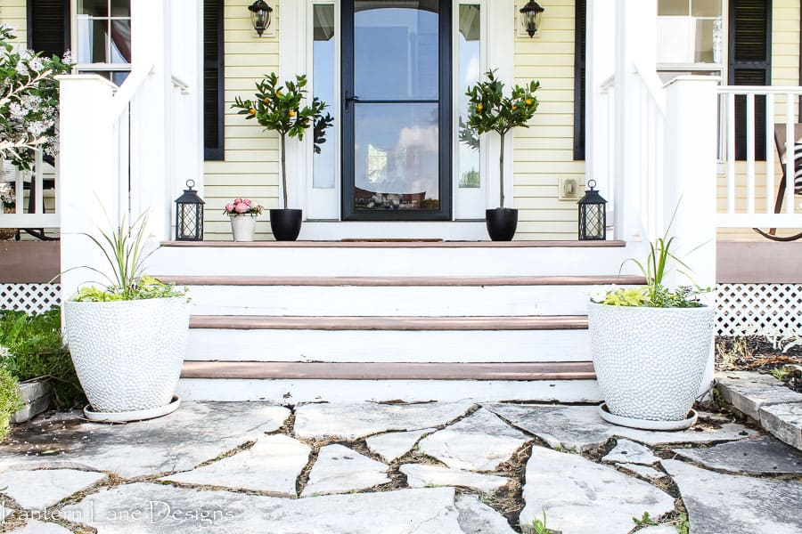 Summer Front Porch Decor Ideas Using Planters and Lemon Trees