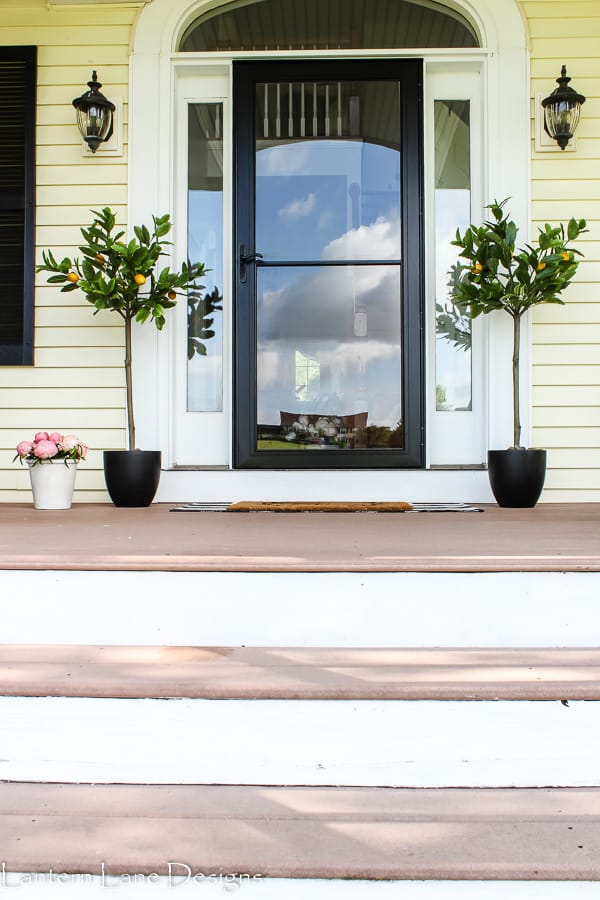 Summer front porch lemon trees and peonies