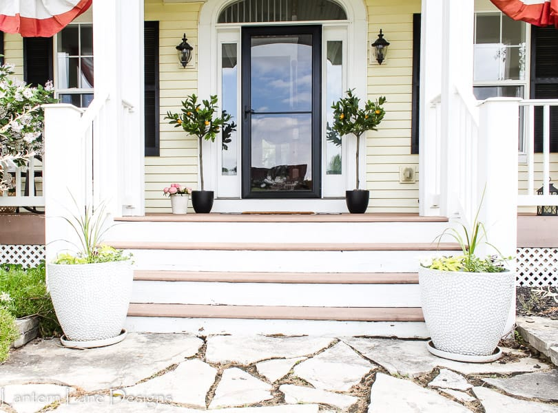Summer front porch with planters. lemon trees and storm door