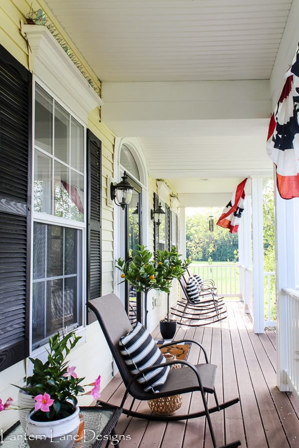 Summer front porch rocking chairs and striped pillows