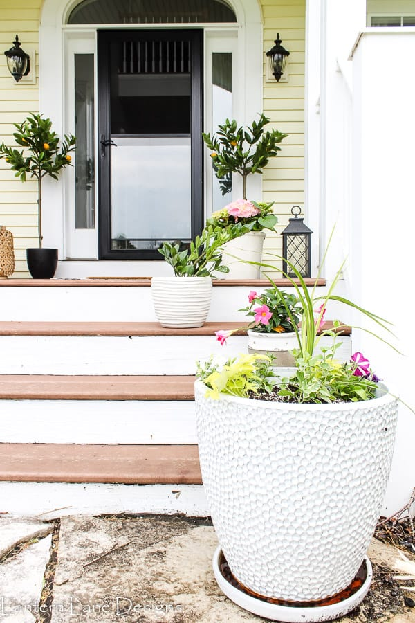 outdoor planters on front porch