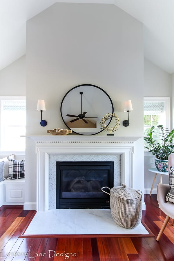 Fireplace makeover using peel and stick tiles