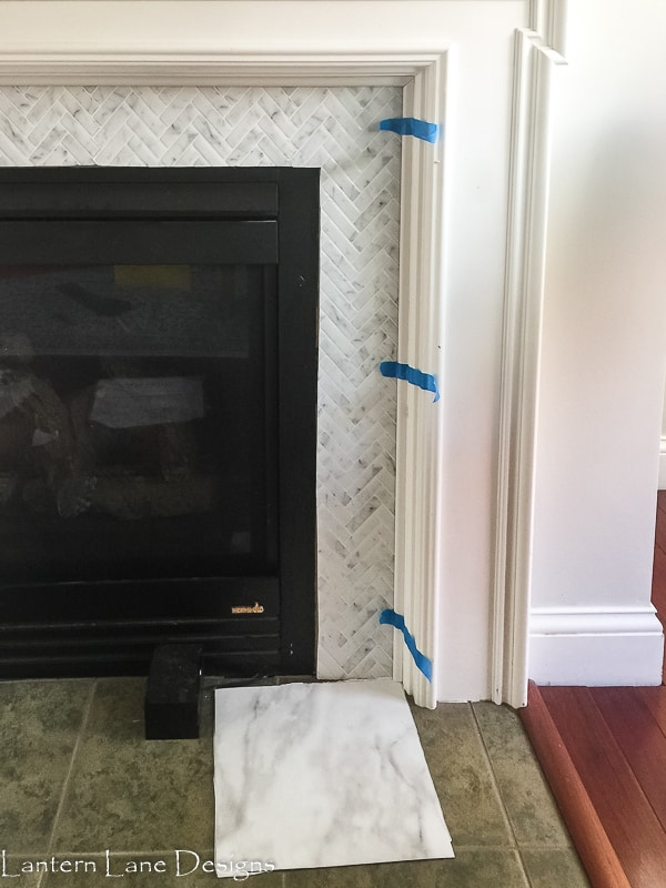 Fireplace Makeover Using Peel And Stick Tile
