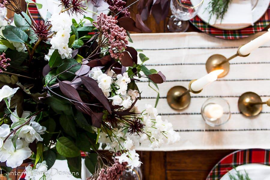 Modern table setting for Christmas