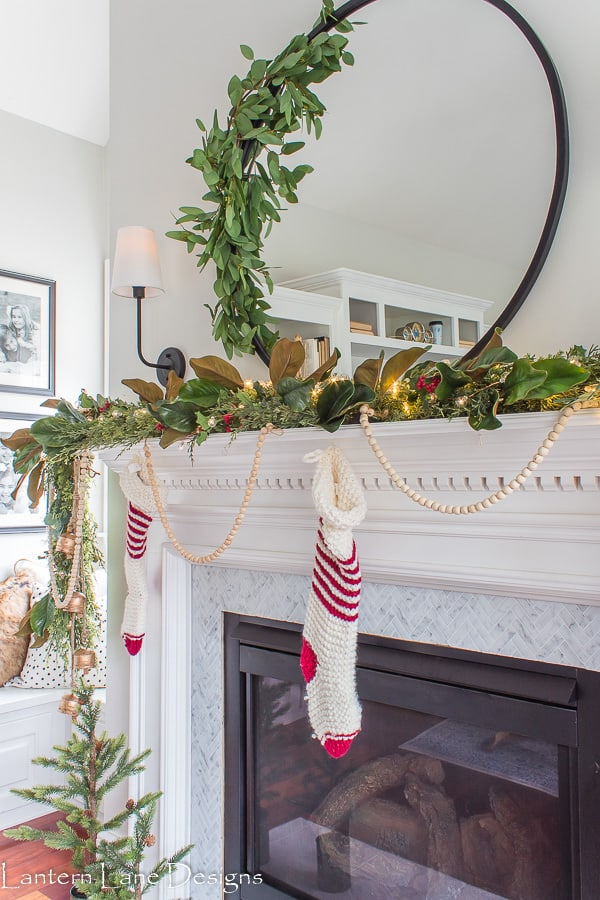 Magnolia garland on mantel